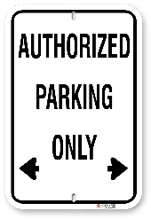 1AP001 Standard Authorized Parking Sign