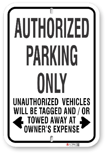1AP003 Standard Authorized Parking Only Sign
