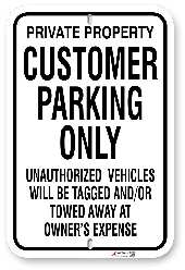 1cp001 customer parking only by all signs co