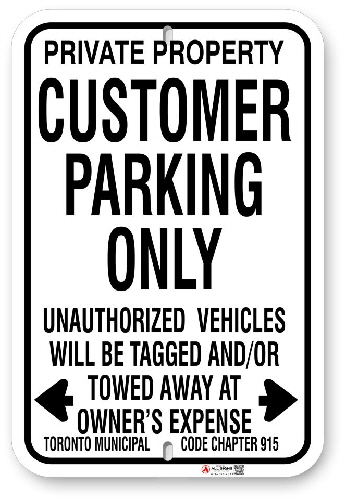 1CP002 Customer Parking Only with Toronto Municipal Code Chapter 915