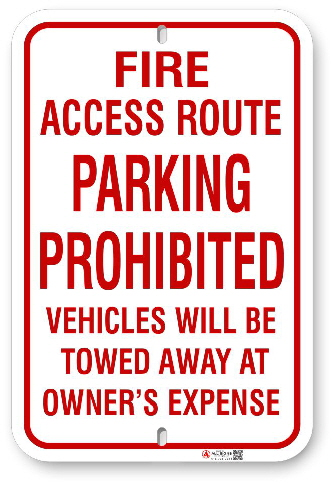 1FR002 Fire Access Route Parking Prohibited sign