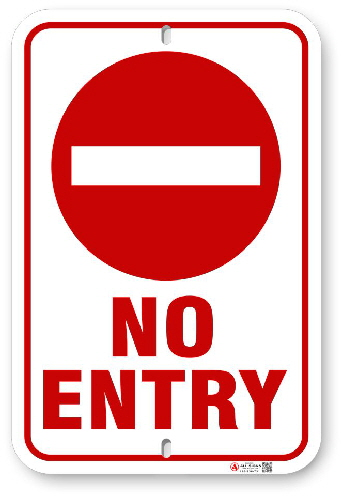 1NE301 No Entry sign