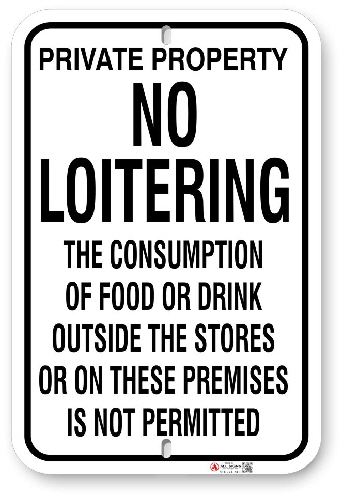 1NL001 Private Property No Loitering sign