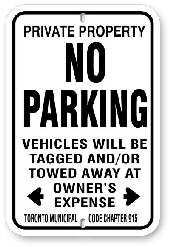 1NP005 Standard No Parking Sign Toronto Municipal code Chapter 915