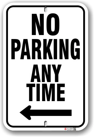 1np014-l no parking any time with left arrow parking sign by all signs co