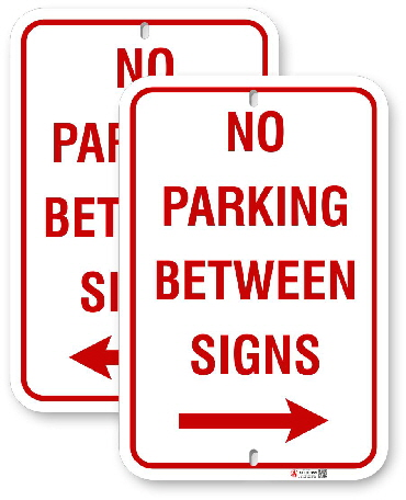 1NB00 No Parking Between Sign with Right or Left  Arrows