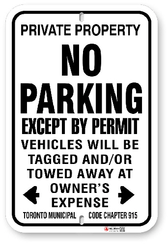 1NPP05 No  Parking Except By Permit Sign with Toronto Municipal Code 915