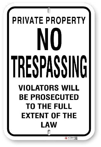 1NT001 No Tresspassing sign with Warning
