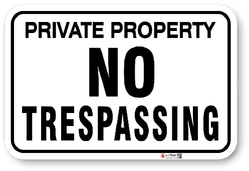 1NT006 No Tresspassing sign