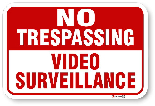 1NT007 No Tresspassing Video Surveillance sign