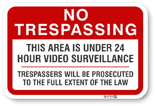 1NT009 No Tresspassing Under Surveillance with Warning