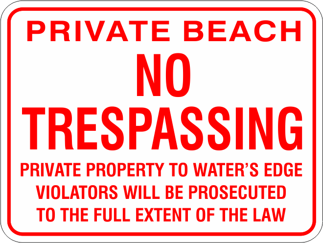 Private Beach No Trespassing Aluminum sign
