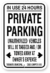 1PP001 Private Parking - in use 24 Hours - Toronto Municipal Code Chapter 915