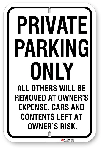 1PPU01 Private Parking Only sign with black graphics