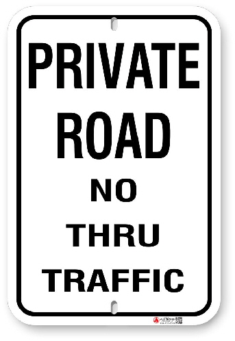 1PR002 Private Road No Thru Traffic sign