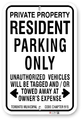 1RP001 Resident Parking Only with Toronto Municipal Code Chapter 915