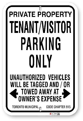 1TPV01 Tenant - Visitor Parking Only Sign with Toronto Municipal Code Chapter 915