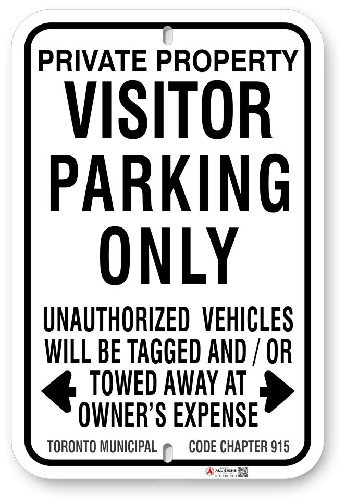 1vp103 visitor parking only sign with toronto municipal code chapter 915 made by all signs co