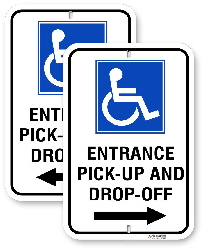 2EH001 Handicap Entrance Sign with Left or Right Arrows and Handicap Logo