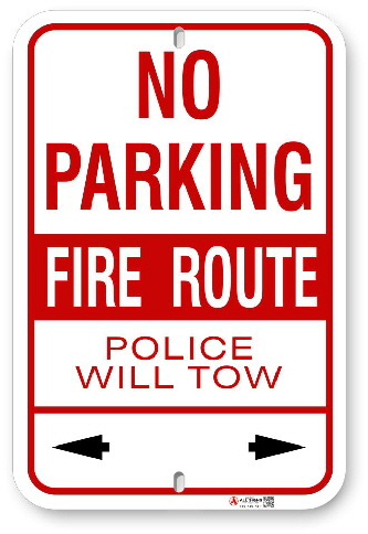 2fr004 no parking fire route police will tow by all signs co