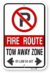 2FRCB2 Fire Route sign with By-Law 94-047