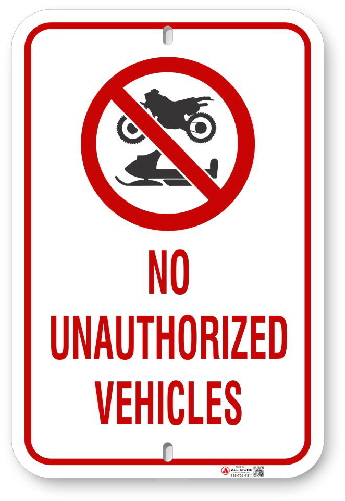 2MV002 No Unauthorized Vehicles sign