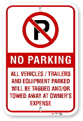 2NP002 No Parking Sign With Red Graphics and Circle P Logo
