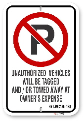 2NP188 No Parking Sign with By-Law 2005-188 and Circle P Logo
