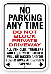 2npat01  no parking any time - do not block private driveway