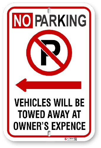 2NPLA01 No Parking Sign with Red Circle P and Left Arow