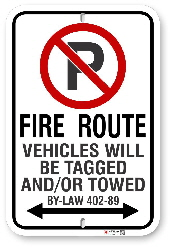 2RFR01 Richmond Hill Fire Route sign with By-Law 402-89