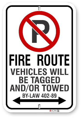 2RFR01 Richmond Hill Fire Route sign with By-Law 402-89 by ALL Signs Co